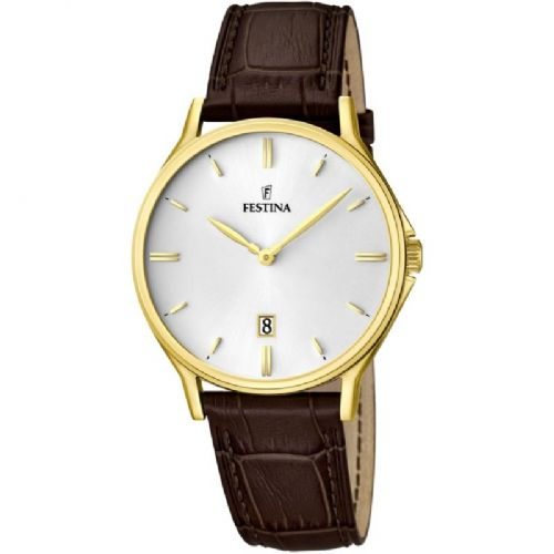 F16747/1 Festina Gold Plated Mens Brown Leather Strap Watch